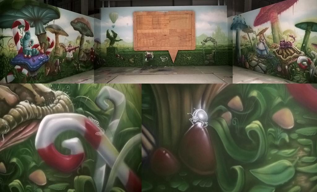 surrealistyczny projekt na ścianie