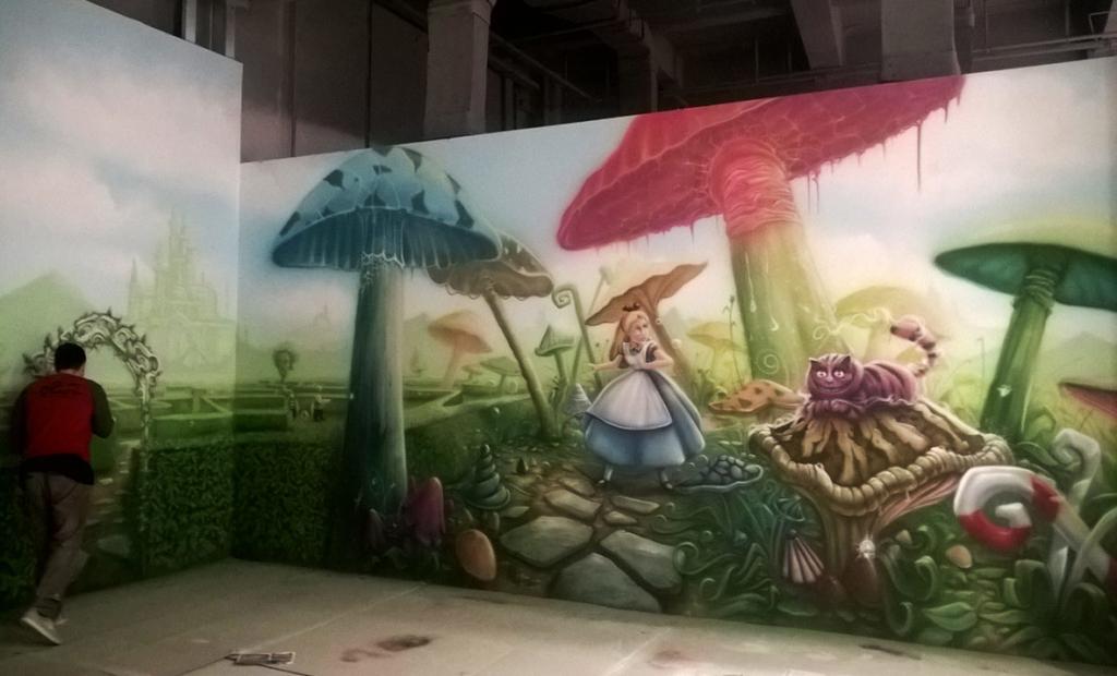 grzyby, surrealizm, kot, Alicja, labirynt