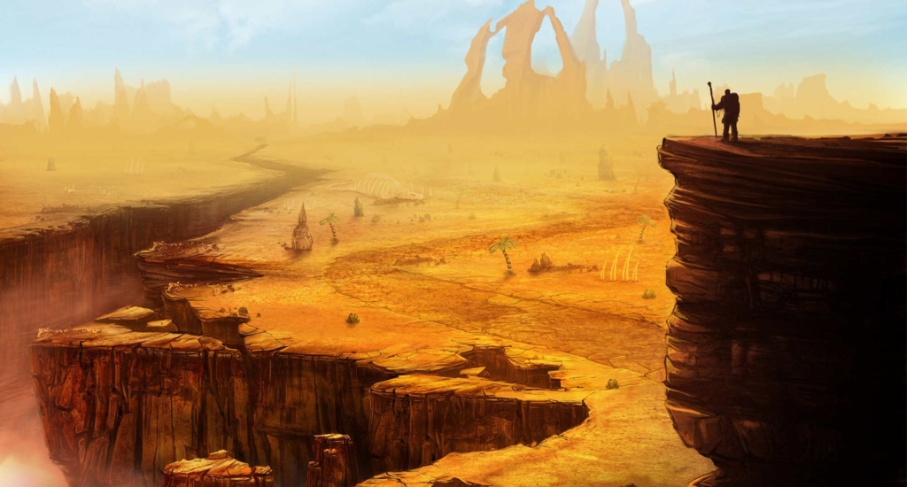 ilustracja wulkanu, dark fantasy, concept art, most
