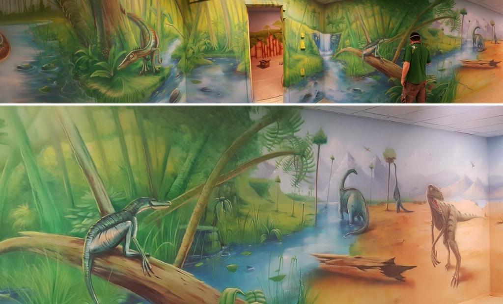 pokój urodzinowy w dinozaury, rzeka, góry, malowanie ścian