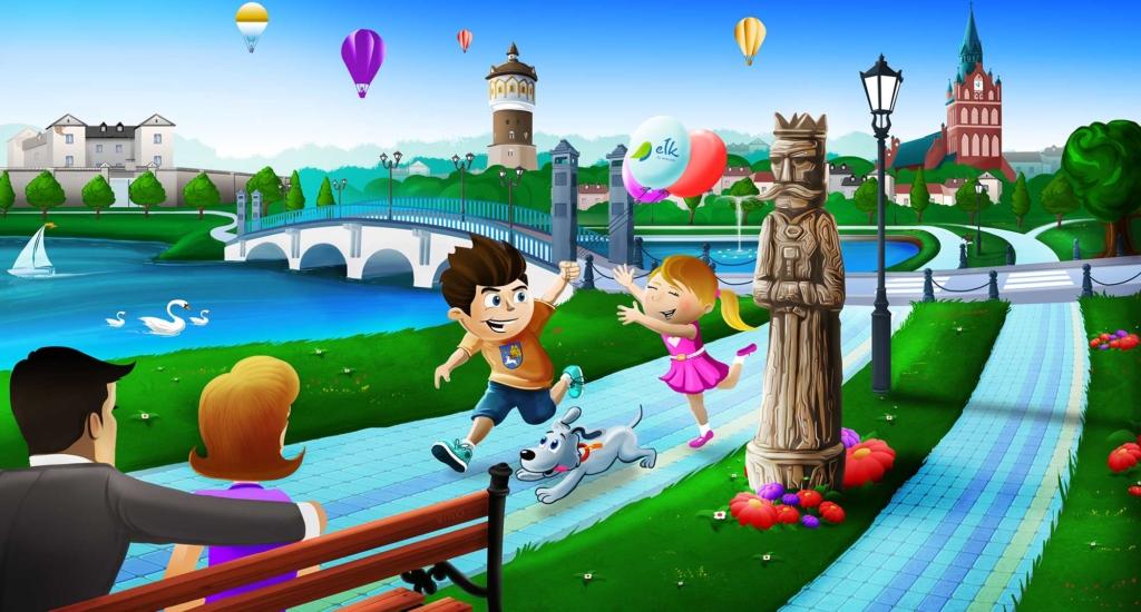 ilustracja dla dzieci, Promenada Ełku