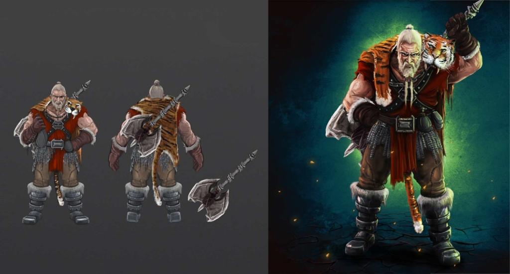 concept art wojownika, berserker,