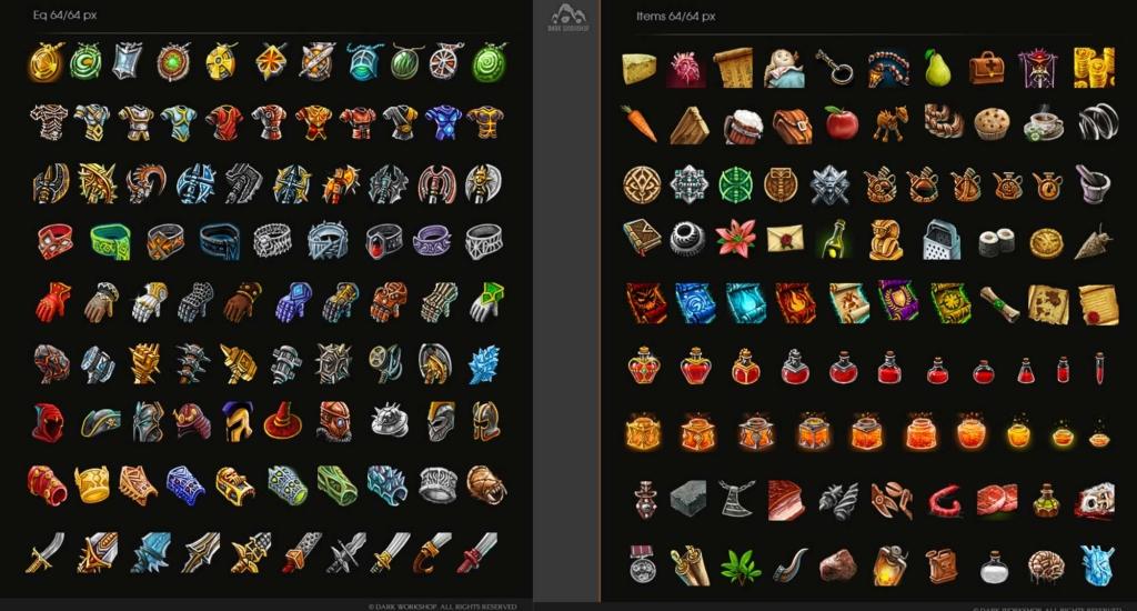 malowane ikony do gier, amulety, medaliony, napoje, miecze, rękawice, zbroje,