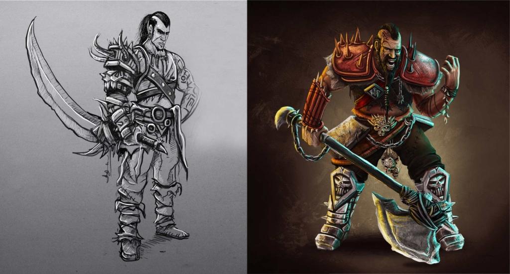 bohater, wojownik w świecie gry, szkic