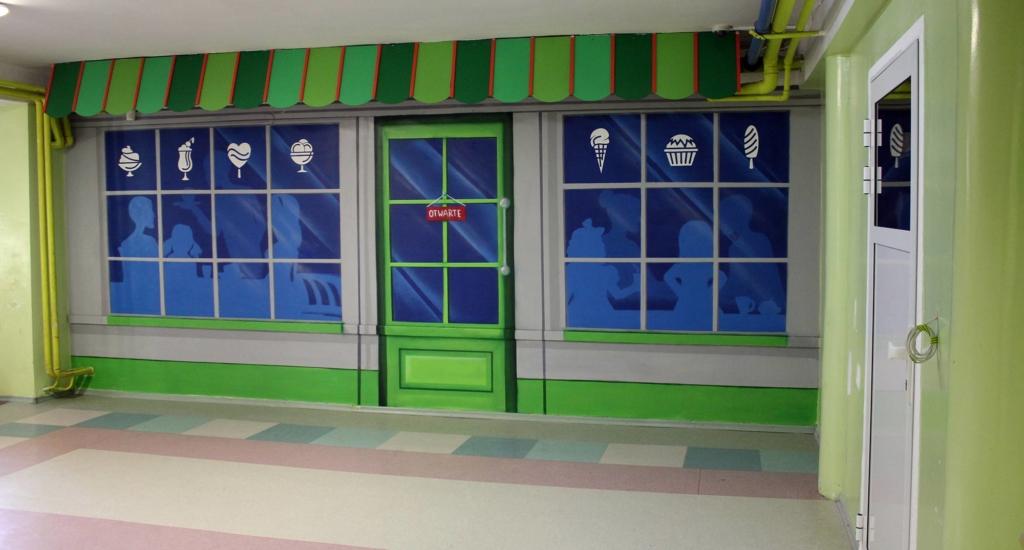 kawiarnia, 3d, malarstwo na ścianie, malunek, iluzja lokalu,