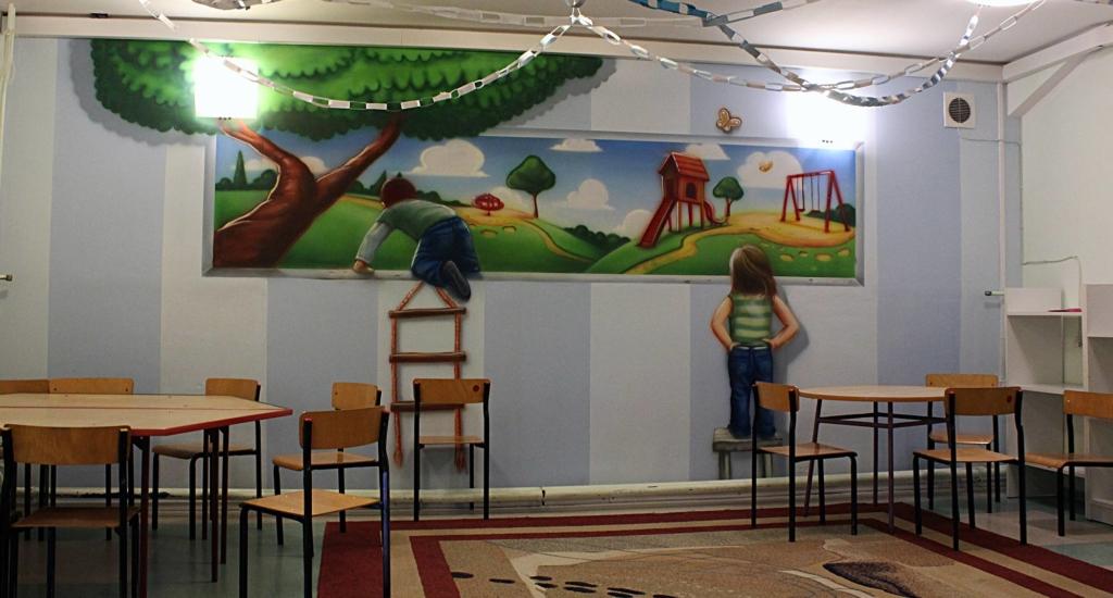 malarstwo na ścianie, iluzja, dzieci, plac zabaw