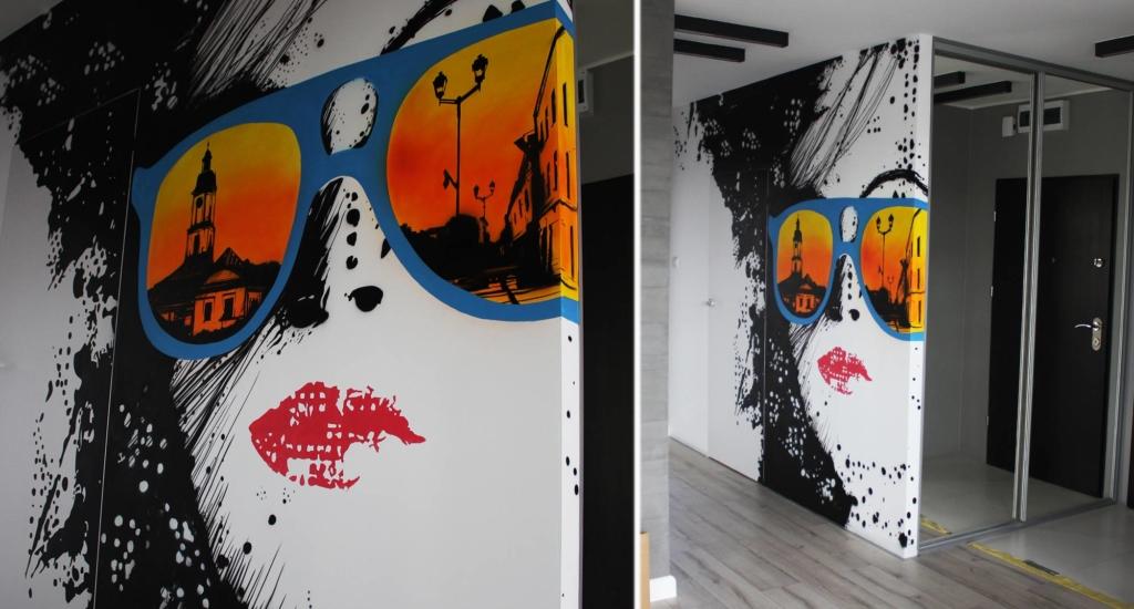 ściana aneks, nowoczesna malowana grafika