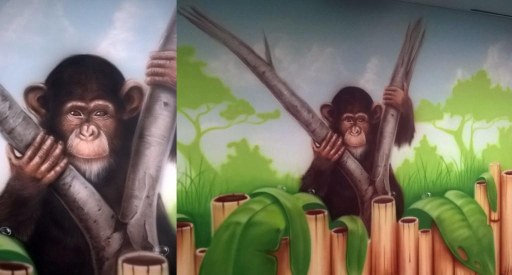 szympans, malowidło, małpa, bambusy
