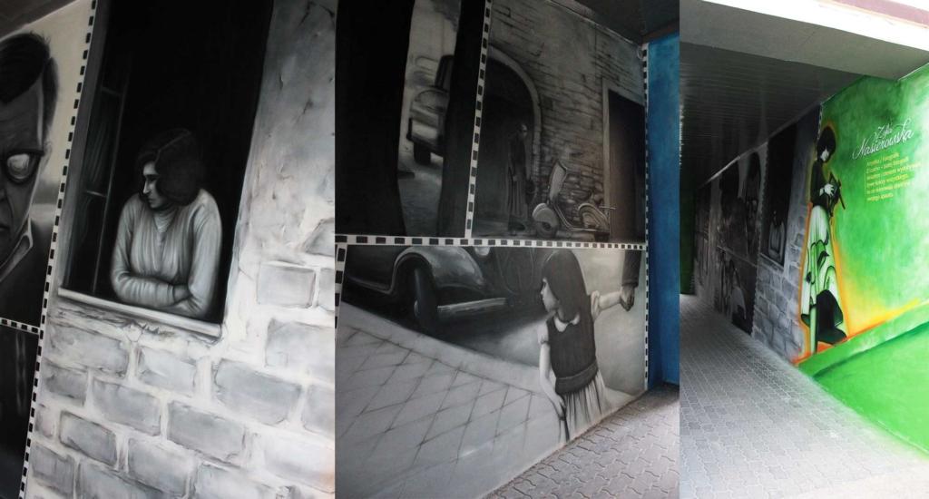 malarstwo w bramie, zofia nasiorowska, graffiti, mural, biblioteka publiczna