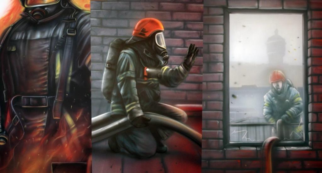 szczegóły malowidła dla Straży Pożarnej w Ełku