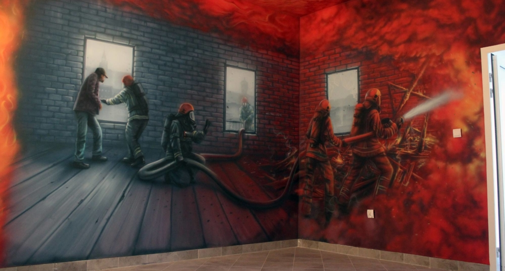 straż pożarna, malowidło na ścianie, mural