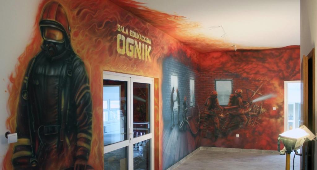 pożar, ogień, ognik, sala edukacyjna