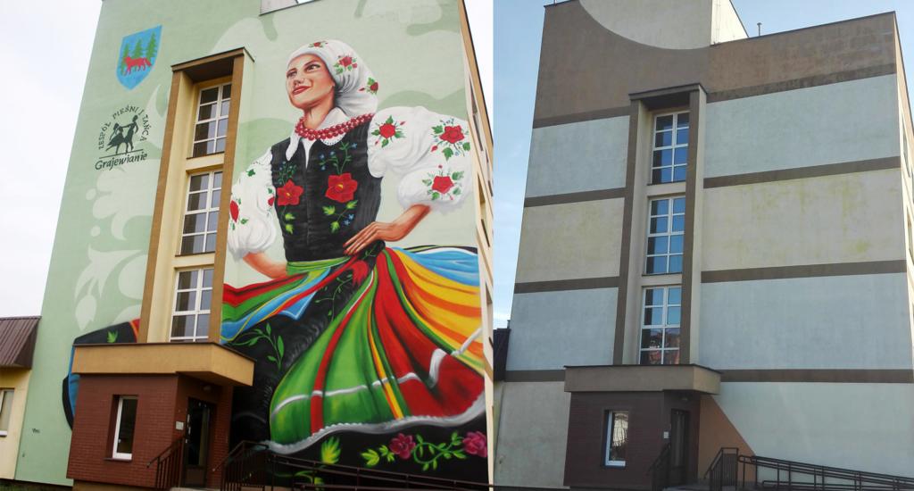 Ściana szczytowa ozdobiona muralem tancerki
