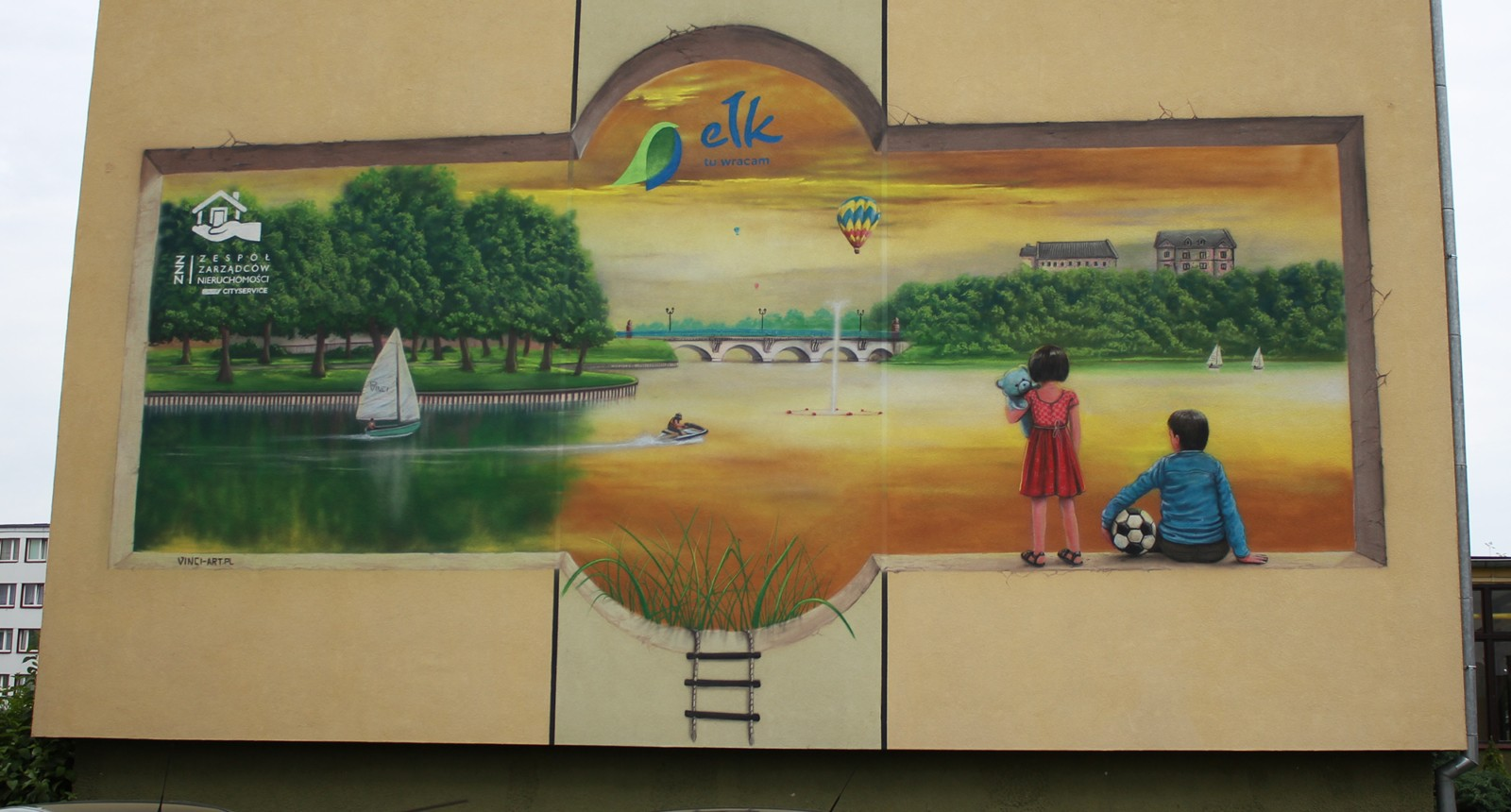 mural na bloku, 3d, iluzja, pejaż