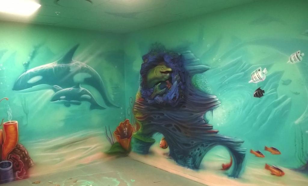 Orki, woda, malunek na ścianie,