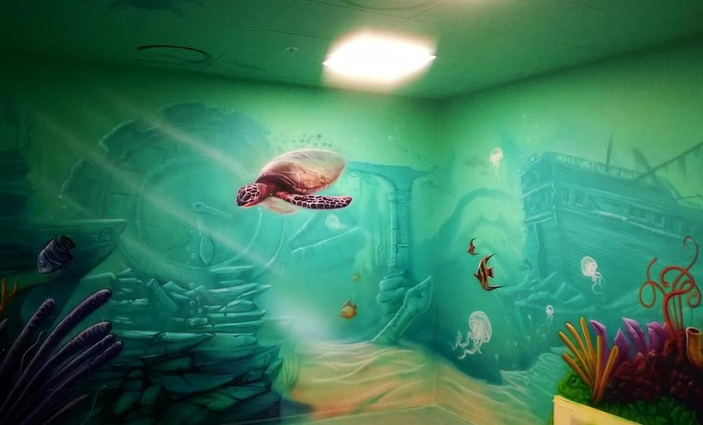żółw, ruiny pod wodą, malarstwo na ścianie