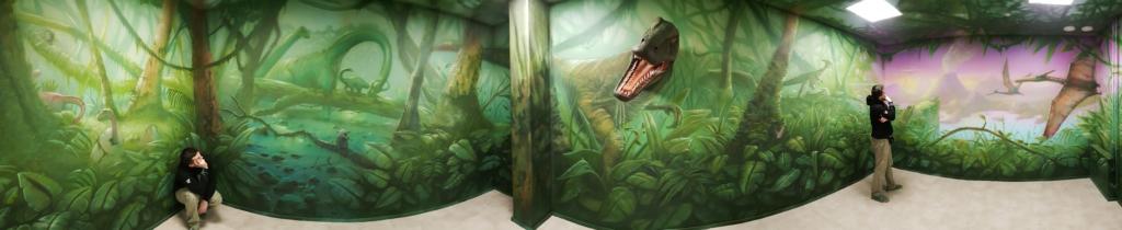 Dżungla z dinozaurami, malowidło ścienne