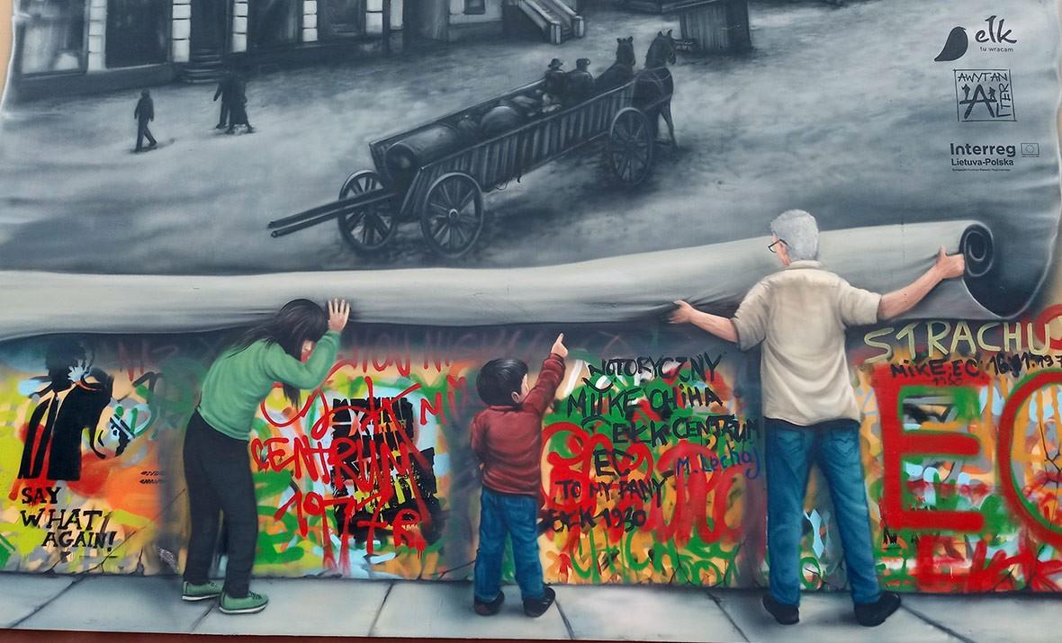 stary Ełk, mural pokoleniowy, społeczny