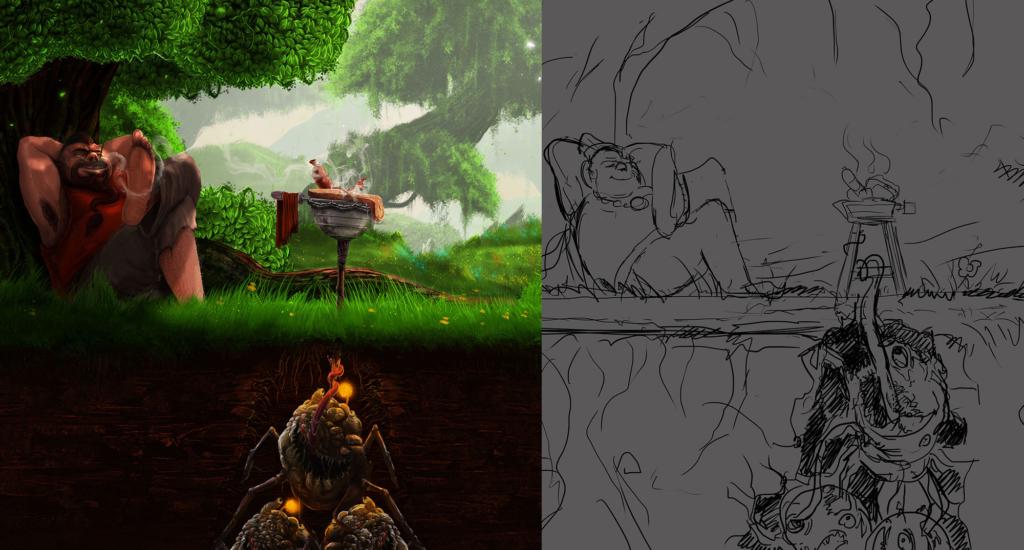 szkic i efekt ilustracji