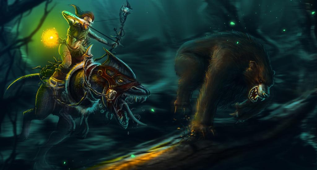 polowanie na niedźwiedzia, ilustracja