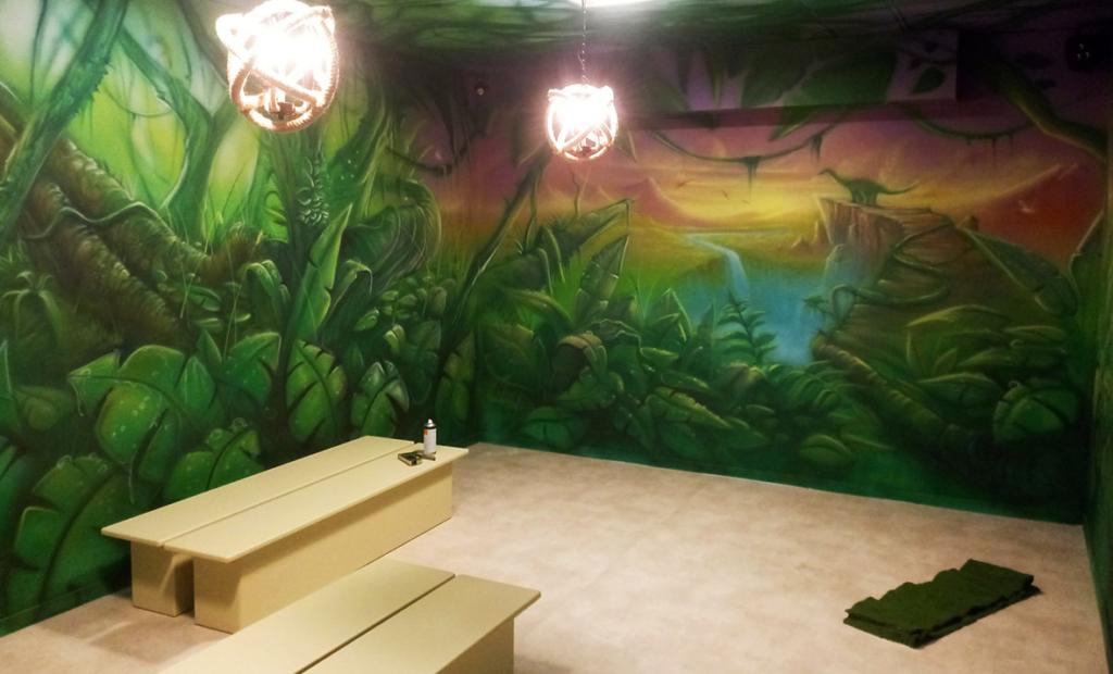 Pokój w parku rozrywki Leos Lekland, liście, wodospad, góry, drzewa, liany