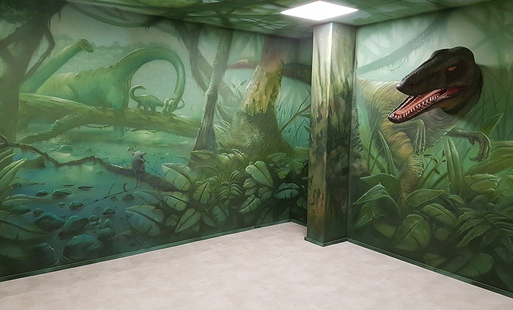 Tyranozaur, mięsożerne, 3d, malowidło na ścianie