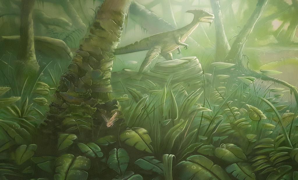 Dżungla, trawa, liście, zieleń, malowidło