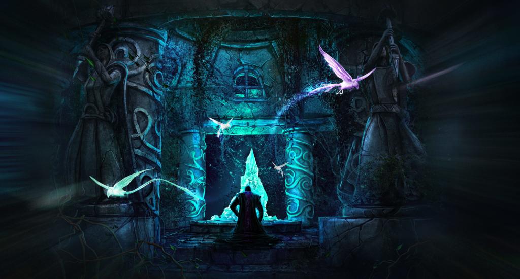 wnętrze świątyni, concept art, ilustracja
