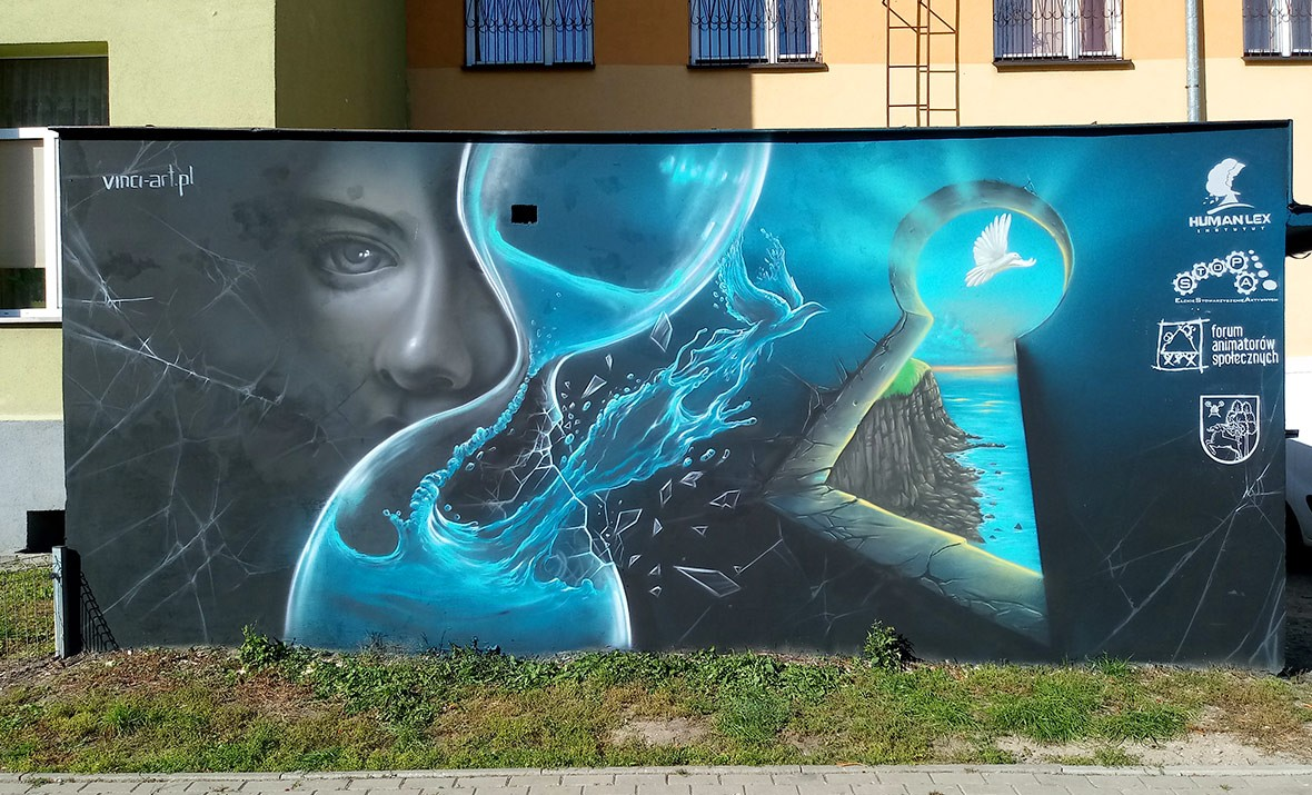metafora w muralu, śmierć, wolność