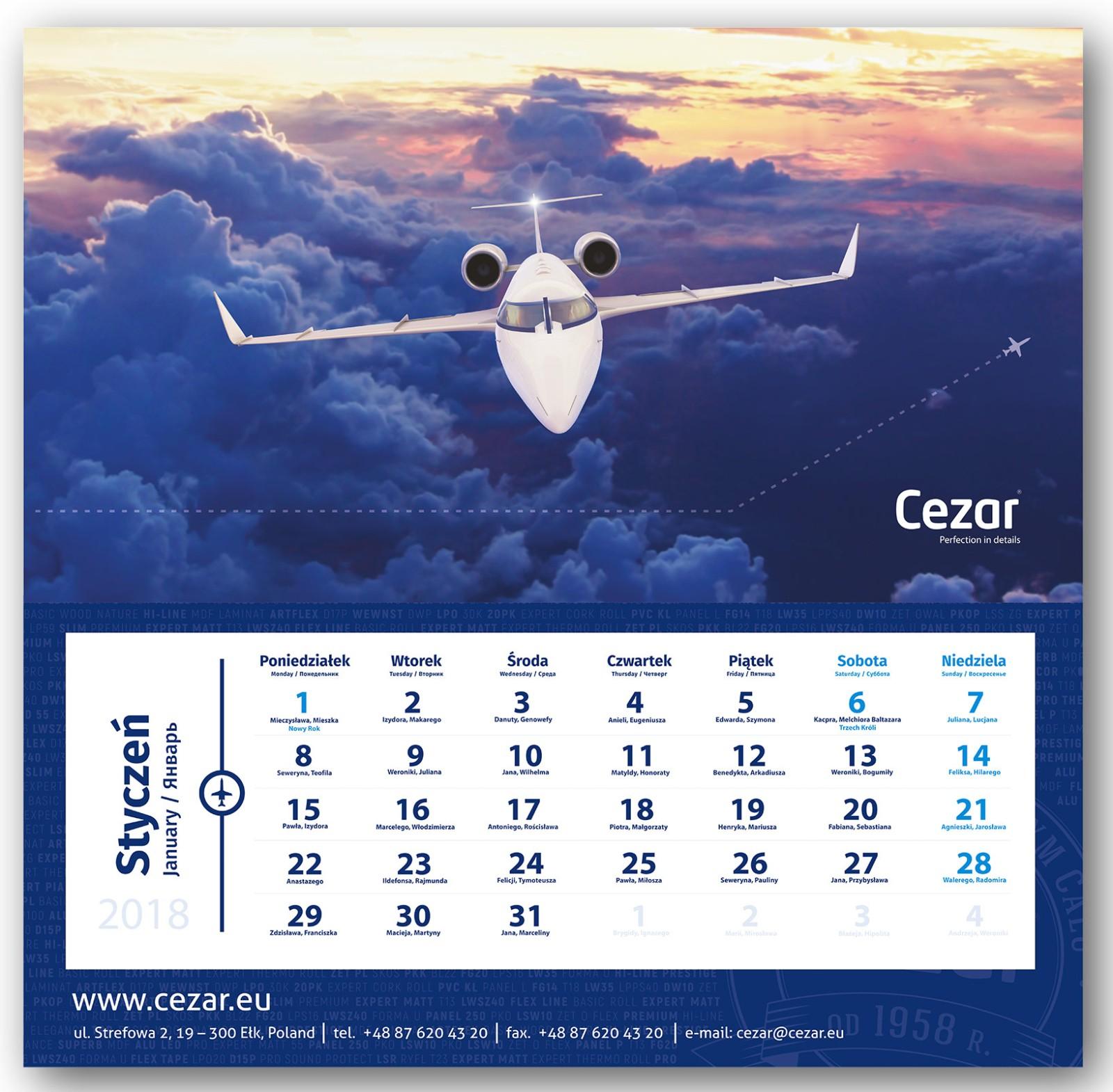 kalendarz trójdzielny, samolot biznesowy, model 3d