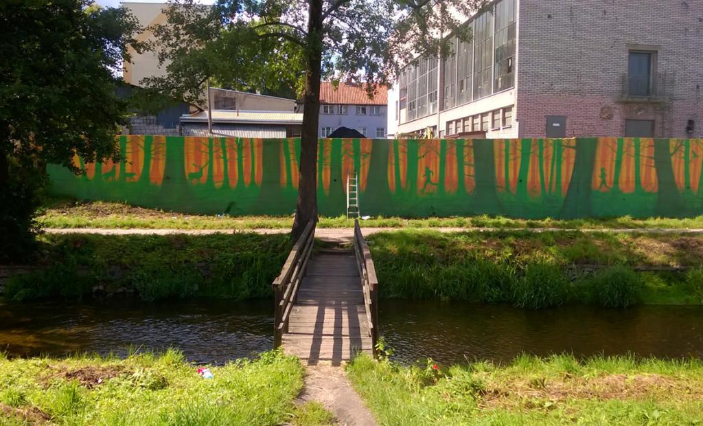 las na murze, mural, kotłownia