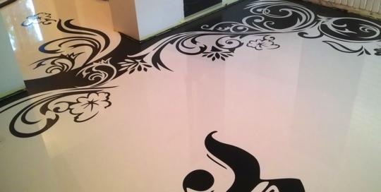 wnetrza, malarstwo, podłoga, szablon