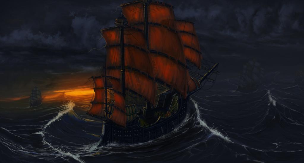 burza, sztorm, statek, zachód słońca, ilustracja