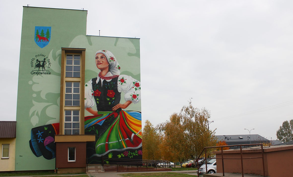 folklor, tancerka, mural nna bloku