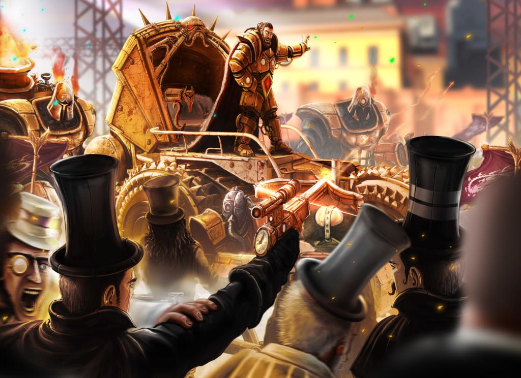 zamach, ilustracja, cesarz, steampunk