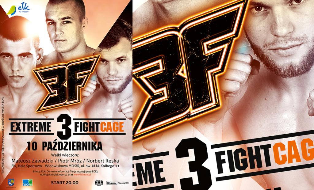 plakat gala sztuk walki, mma, extreme fight cage, klatka