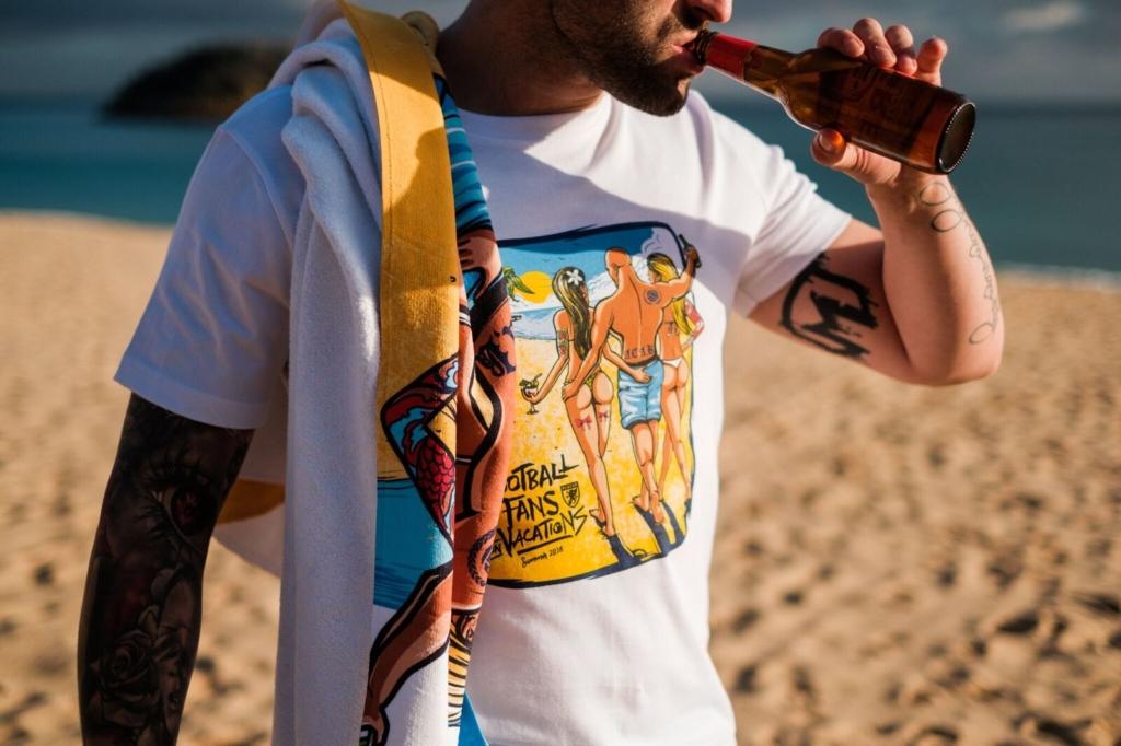 ręcznik, koszulka, wakacje, plaża, grafika
