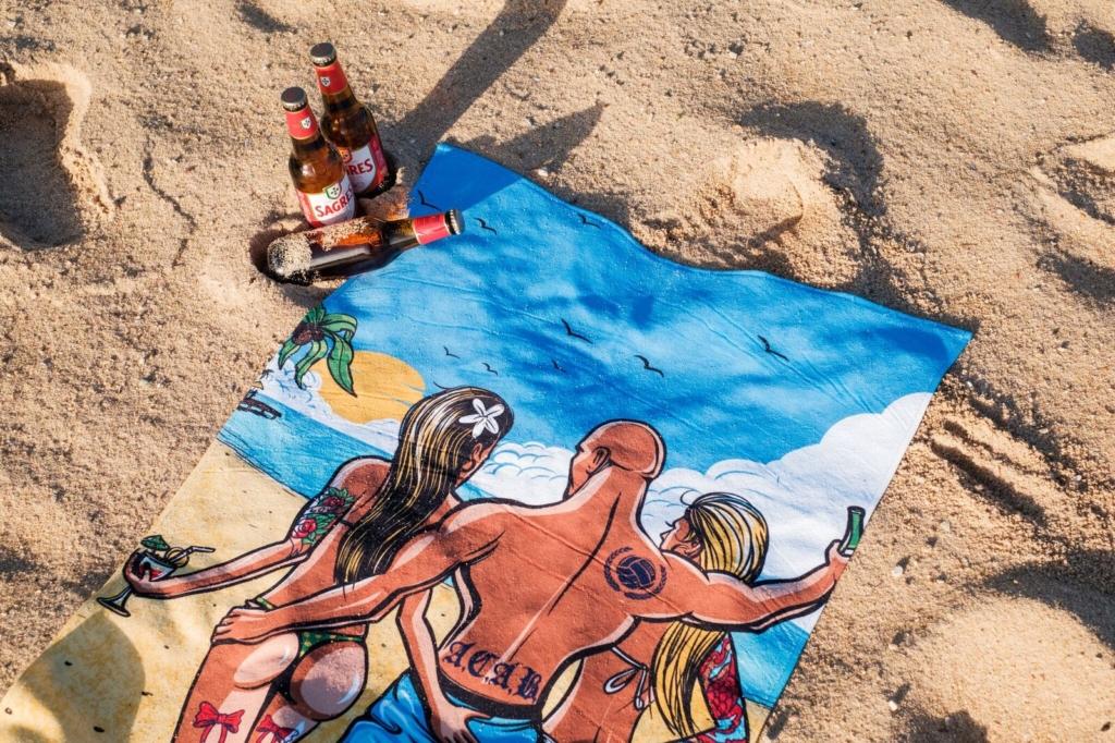ilustracja, grafika, ręcznik, kibic, piłka nożna, wakacje