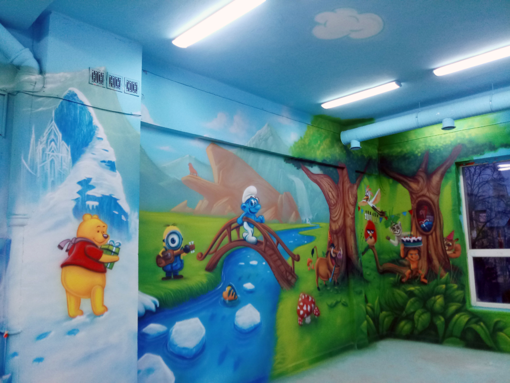 Sala Zabaw, Park rozrywki, Aquapark, Polska, malowidła na ścianie
