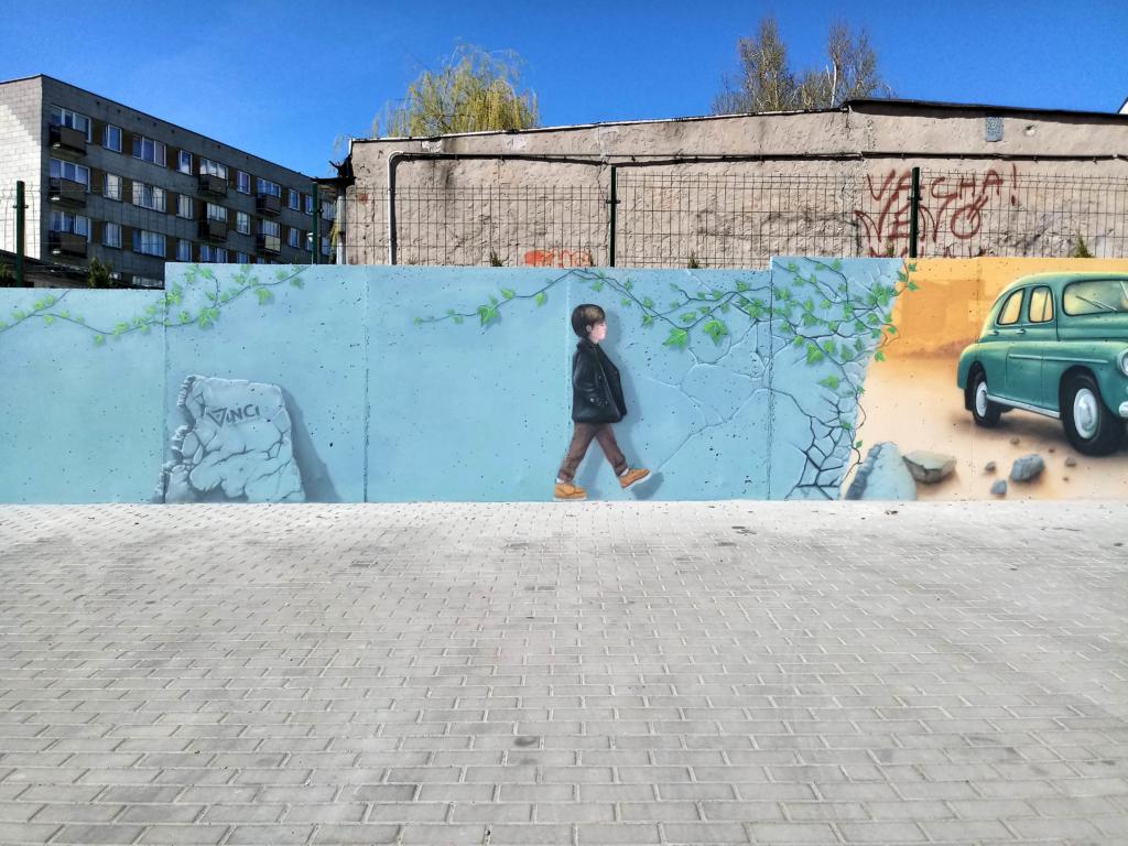 spacer, chłopiec, iluzja, malarstwo iluzjonistyczne
