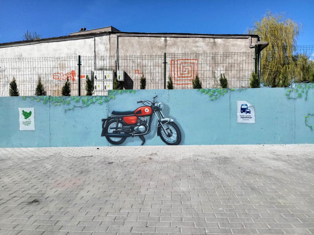 motocykl WSK, malowidło , iluzja, mural, graffiti, art,