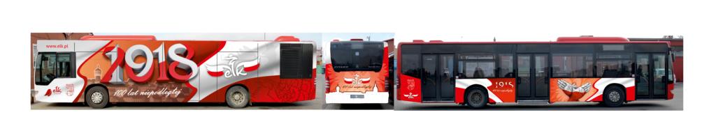 wizualizacja projektu graficznego autobusu, patriotyczna grafika