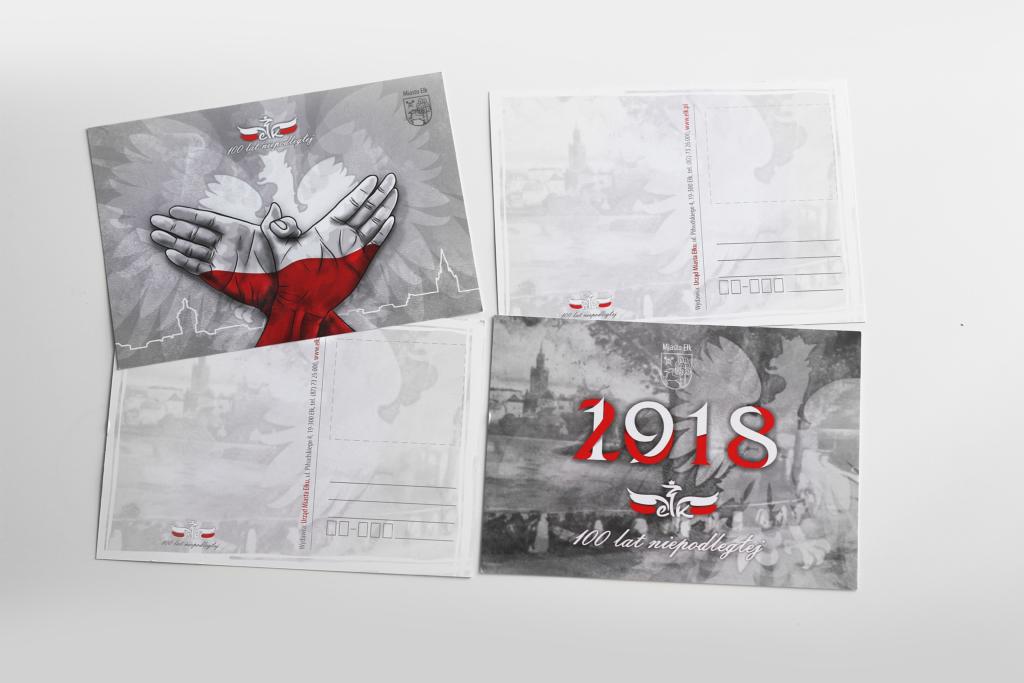 Pocztówki z okazji obchodów setnej rocznicy odzyskania niepodległości dla Miasta Ełku
