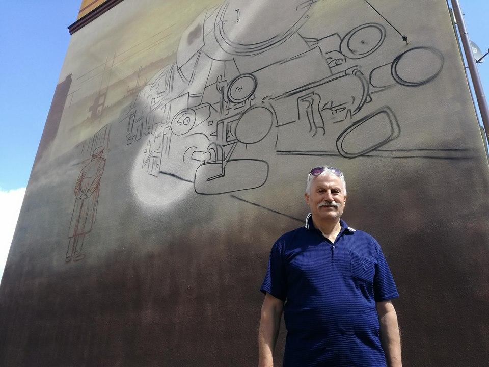 kalendarzRomana Dziarnowski, mural, kolej, lokomotywa Ty2 1258, szkic, inicjatywa mieszkańca