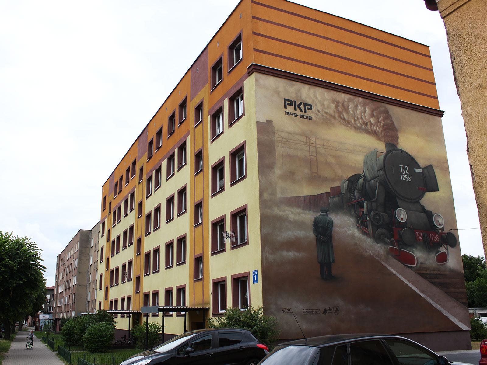 mural PKP, mural dla kolejarzy, mural historyczny, lokomotywa Ty2 1258