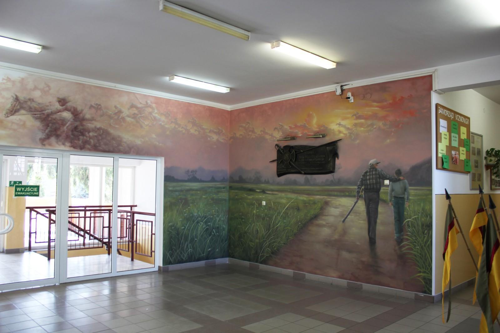 Malowidło patriotyczne, ułani 9PSK, dziadek z wnukiem, łąka, symbol,