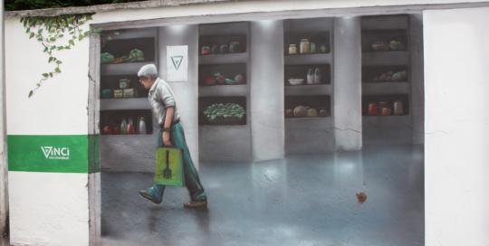 Jadłodzielnia, mural, malowidło ścienne, graffiti, ilustracja na ścianie, 3d