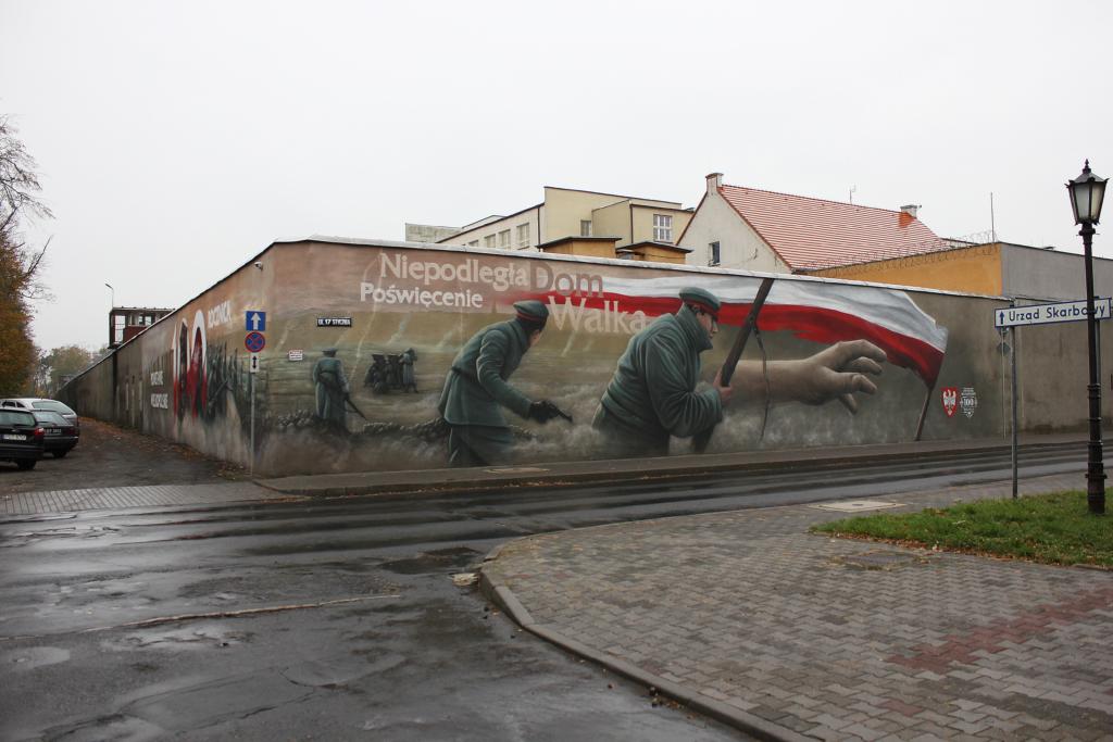mural, Vinci, maluje, bitwa, Polska,