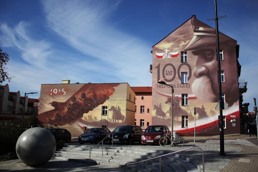 Mural, miasto, Ełk, piłsudski, mural Patriotyczny,