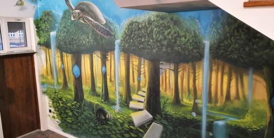 malarstwo artystyczne,latający żółw, las, świat podwodny, surrealizm
